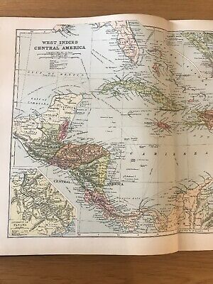 1897, Map of THE WEST INDIES, Bacon's Popular Atlas Of The World