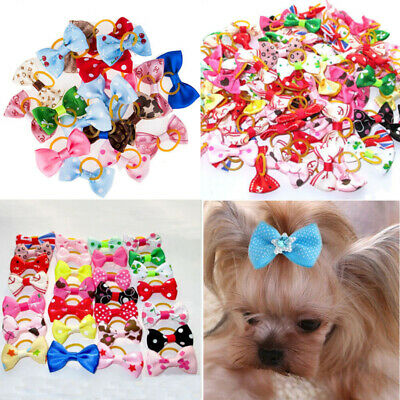 20Pcs Pet Puppy Hair Bows Rubber Bands Small Dog Cat Bowknots Grooming Accessory