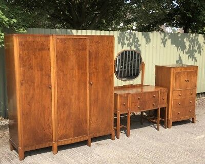 Outstanding Rare Art Deco Walnut 3 Piece Bedroom Suite Mint Condition We Deliver