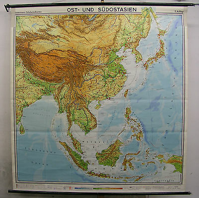 Schulwandkarte Map East South-East Asia Indonesia Japan India 4mio 185x196 Top
