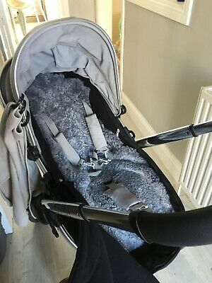 Grey/ Gray Merino Wool Sheepskin Pushchair/ Stroller Liner/ Cover