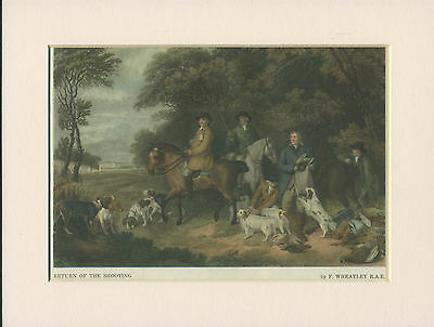 CLUMBER SPANIEL EARLY SHOOTING SCENE OLD 1940's DOG PRINT READY MOUNTED