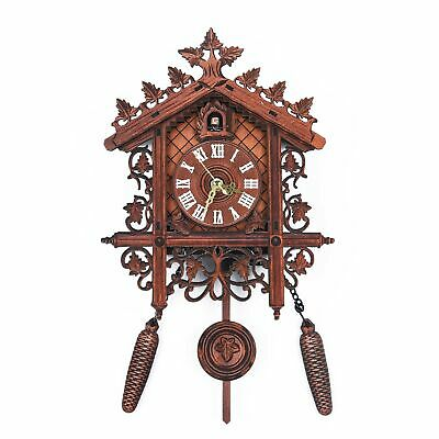 1× Retro Handcraft Wood Cuckoo Clock Tree House Swing Wall Clock Art Home Decor