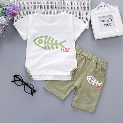 Summer Toddler Baby Boy Girl Tops T Shirt+Pants Casual Outfit 2PCS Clothes 6M-3Y