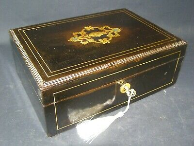 Antique Brass Center Ebony  Desk Top Box Lock & Key c1860 Brass Stringing