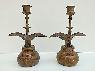 Antique 19th Century Pair of French Bronze Eagle Candlesticks
