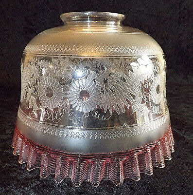 Antique Victorian Etched Glass Shade With Cranberry Piped Glass Frilled Rim