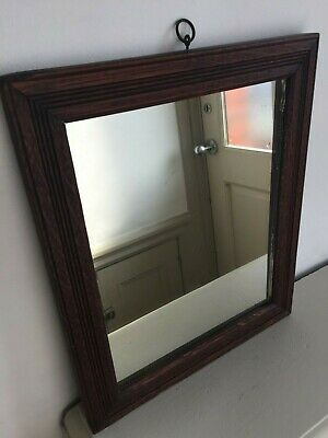 Vintage Oak Wall Mirror Reeded Wooden Original Foxed Glass Small 34x29cm m195