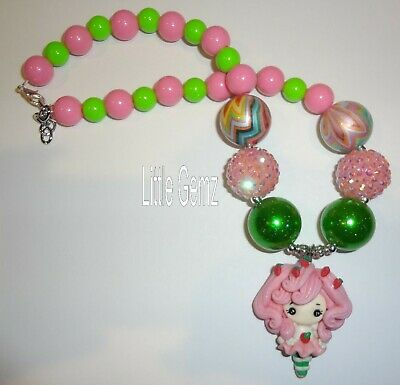 NEW kids girls Strawberry Shortcake clay beaded chunky necklace custom boutique