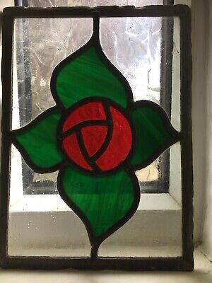Wonderful and very old Antique stained glass panel, rose design, great character