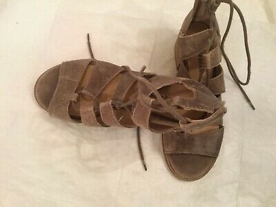 Up Stone Lucky Sandals Gray Warm Size Tazu Lace Brand Suede Women's nm0w8N