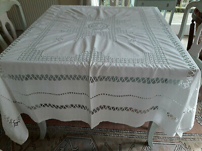 Large  190 X 160, Vintage White  Soft Linen Tablecloth With Beautiful Lace Work