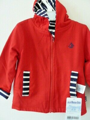 JoJo Maman Bebe Reversible Hooded Top 6 to 12 Months.Red. Blue/ White Stripe NWT