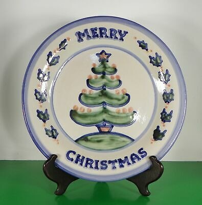 Hadley Country Scene Blue MERRY CHRISTMAS Chop Plate Round Platter