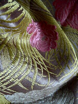 French antique silk shawl  brocaded 19th-century