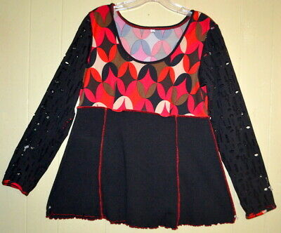 Hand Jive Art to Wear Black Red Swing Lace Sleeved Tunic S B38