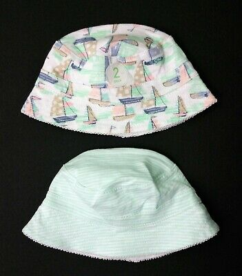 2 X PACK Baby Girls NEXT Jersey Cotton Bucket Sun Hats Age 0-3/3-6/6-12 Months