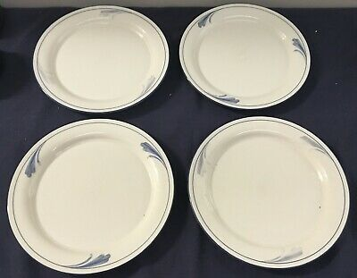 4 Lenox Chinastone Blue Brushstrokes Dinner Plates Approx. 10 3/4""