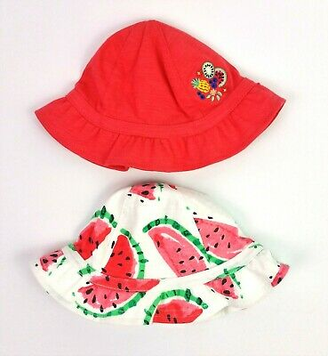 2 X PACK Baby Girls NEXT Jersey Cotton Bucket Sun Hats Age 0-3 Months BNWT