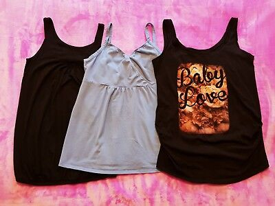 Gap and New Look maternity Size M / UK 12 sleeveless t-shirt top/vest bundle (3