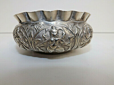 Antique Indian Silver Crimped Edge Bowl With Deities
