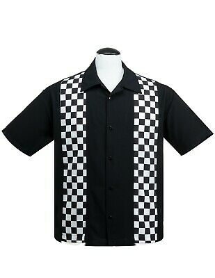 Steady V8 Checkered Mini Panel in Black White V8 embroidery left sleeve Hot Rod
