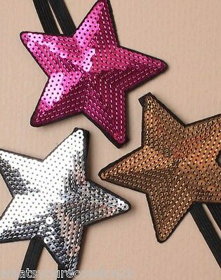 New Large Sequin Star Hair Band Stretch Accessory Gold Silver Funky Dance Summer