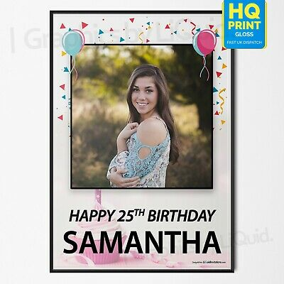 Personalised Birthday Girl Photo Children Adult Baby Party Poster | A4 A3 A2 A1