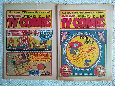 Mighty TV Comic #1299 and #1306 with Doctor Who strip featuring Tom Baker 1976
