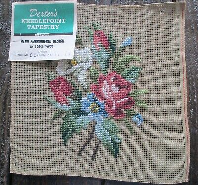 Vintage Dexter's Needlepoint Tapestry Needlepoint Canvas 100% Wool Hand Worked