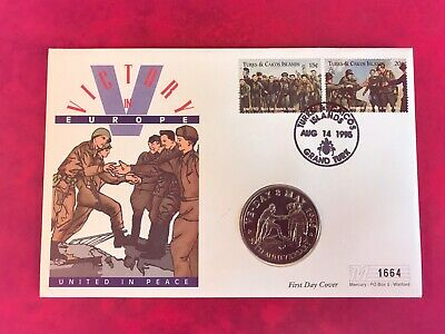 Turks & Caicos 1995 Fdc Mercury Coin 5 Crowns Victory In Europe Ww2 Elbe River