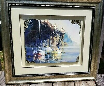 Kiff Holland Sunrise Framed Shadow Box textured corners Boats on Water