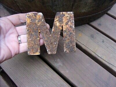 "antique rusty letter ""M"" small size~architectural salvage~garden~3 1/2"" X 3 1/8"""