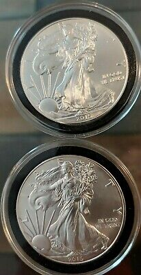 Lot Of (2) 2015 American Silver Eagle ~ 1 Ounce Fine Silver ~ One Dollar Coin