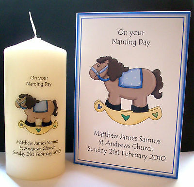 personalised boy naming day blessing candle card gift new baby shower present