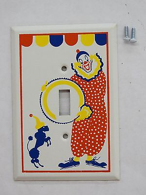 Vintage Metal Circus / Clown With Poodle Design Switch Plate