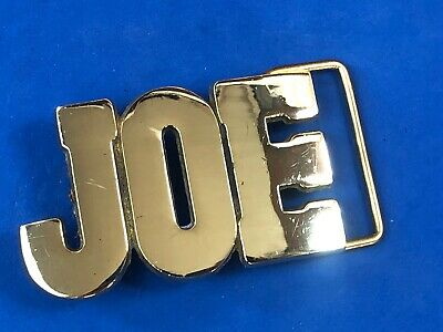 JOE.   solid brass cut out block letters name vintage 1970's  belt buckle BARON