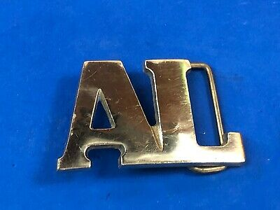 AL solid brass cut out block letters name vintage 1970's Taiwan belt buckle