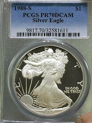 1988-S $1 American Silver Eagle Proof - Pcgs Pr70 Dcam Best Price On E-Bay