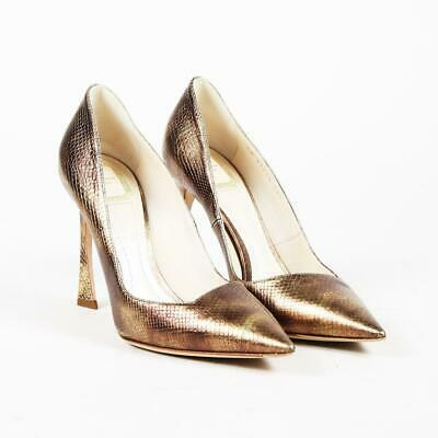 a403d44416 CHRISTIAN DIOR SONGE Metallic Gold Leather Pumps Pointed Heels Size ...