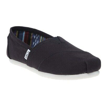 New Womens Toms Black Classic Canvas Shoes Slip On