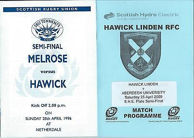 1996 & 2009 SCOTTISH CUP AND PLATE SEMI FINALS, 2 programmes