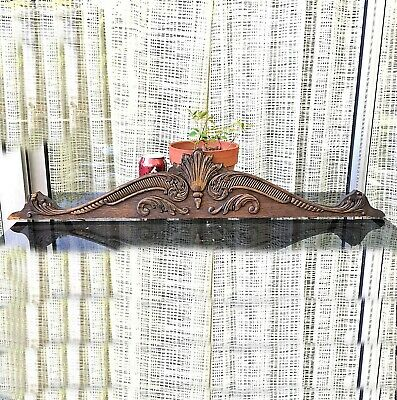 "Antique Oak PEDIMENT w/Carvings 32"" reclaimed salvage furniture part board crest"