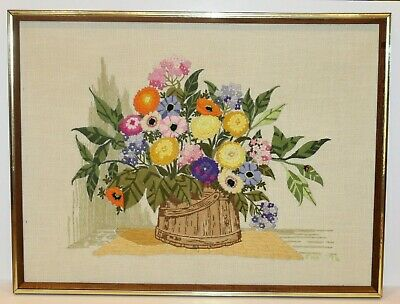 "Vtg Finished Crewel Embroidery Flower Basket Needlework Framed 25"" x 19"""