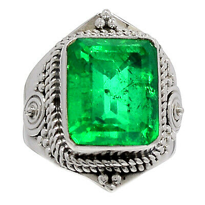 Fine Rings Jewelry & Watches Emerald Natural Crystal Quartz Doublet 925 Silver Ring Jewelry S.6 Ar39533 71i Easy To Use