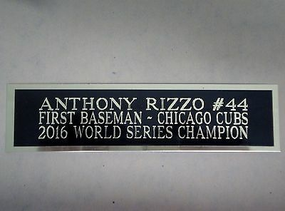 Anthony Rizzo Cubs Engraved Nameplate For A Baseball Bat Display Case 1.5 x 8