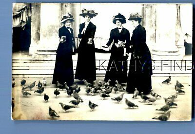Real Photo Rppc E+7596 Pretty Women In Dresses And Hats Feeding Birds