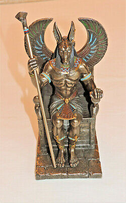 EGYPTIAN GOD ANUBIS ON THRONE w/COBRA STAFF~BRONZE & MULTICOLOR~VERONESE 2015