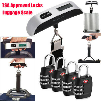 4xTSA Approve Combination Travel Luggage Suitcase Bag Lock Hanging Scale Weight