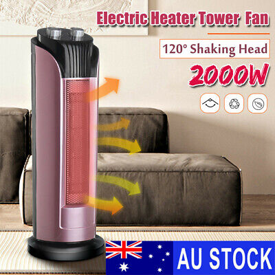 2000W Electric Ceramic Tower Fan Fast Heater Oscillating Heating Warmer Thermal